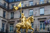 Travel photography:Golden statue of Saint Joan of Arc in Paris, France