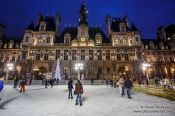 Travel photography:The Hotel de ville (city hall) with ice rink in Paris, France