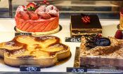Travel photography:Cakes on display in a Paris patisserie, France