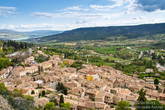 Panorama of the village Moustiers Sainte Marie on the Lac Sainte Croix