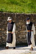 Travel photography:Monks at the Abbey of Notre Dame de Sénanque near Gordes, France