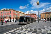 Travel photography:The Place Masséna in Nice with tramline, France