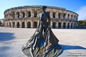 Travel photography:Torero sculpture in front of the coliseum in Nimes  , France