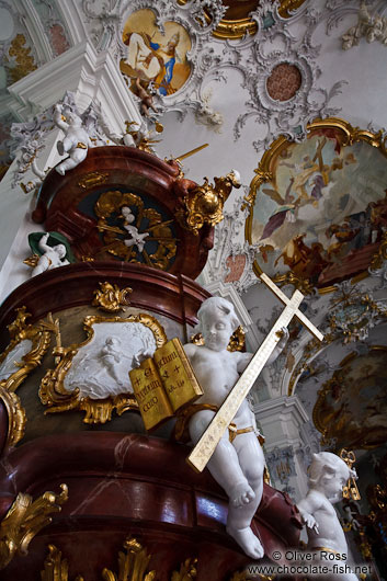 Baroque pulpit inside the St. Georg and Jakobus church in Isny