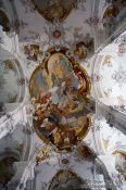 Travel photography:Baroque ceiling of the St. Georg and Jakobus church in Isny , Germany