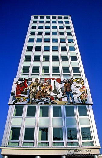 Building featuring mosaic with socialist theme at the Alexanderplatz
