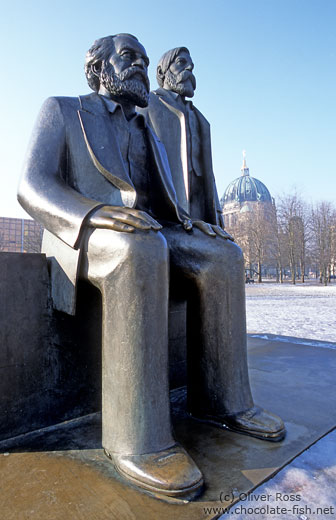 Statue of Karl Marx and Friedrich Engels on the Alexanderplatz