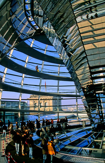 Visitors inside the Reichstag cupola