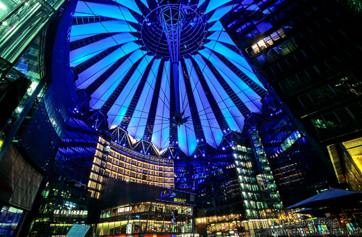The Sony Centre on the Potsdamer Platz with blue lighting