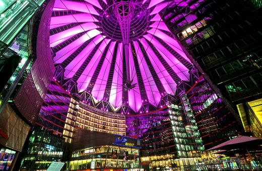 The Sony Centre on the Potsdamer Platz with purple lighting