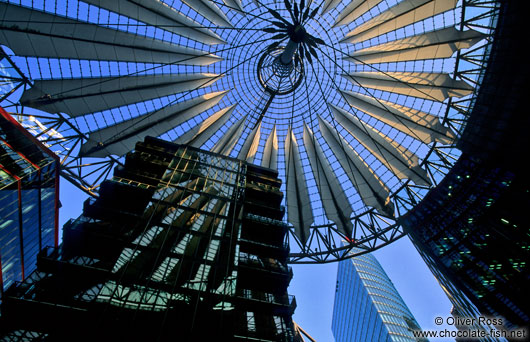 Building with roof structure at the Sony Centre on Potsdamer Platz