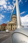 Travel photography:View of the French Dome from the Gendarmenmarkt with giant musical notes, Germany