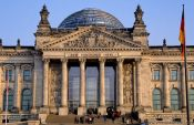 Travel photography:Reichstag entrance portal, Germany