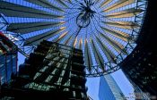 Travel photography:Building with roof structure at the Sony Centre on Potsdamer Platz, Germany