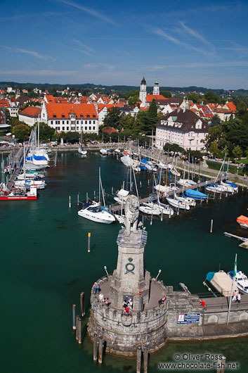 Aerial view of Lindau harbour