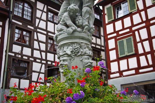 Fountain with half-timbered houses in Meersburg