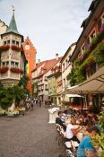 Travel photography:Meersburg street with restaurants, Germany
