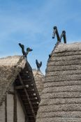Travel photography:Gables of the neolithic stilt houses at the open air museum in Uhldingen, Germany