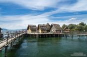 Travel photography:Neolithic stilt houses at the open air museum in Unteruhldingen, Germany