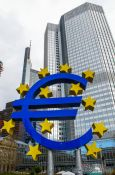 Travel photography:Giant Euro sign in front of the Building of the European Central Bank, Germany