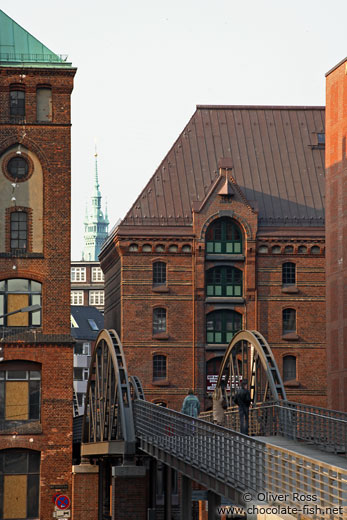 Houses in Hamburg`s Speicherstadt (old area with storage warehouses by the harbour)