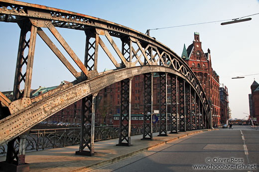 Bridge in Hamburg`s old Speicherstadt