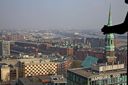 Aerial view of Hamburg`s Speicherstadt with gargoyle