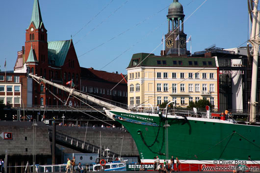View of the Rickmer Rickmers (ship) with Hamburg city