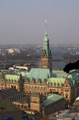 Travel photography:Aerial view of Hamburg`s Rathaus (City Hall) with gargoyle, Germany