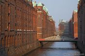 Travel photography:Old warehouses in Hamburg`s Speicherstadt, Germany