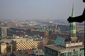 Travel photography:Aerial view of Hamburg`s Speicherstadt with gargoyle, Germany