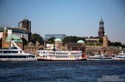 Travel photography:View of Hamburg from the Elbe River, Germany
