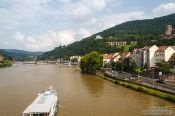Travel photography:Ship on the Neckar River in Heidelberg, Germany