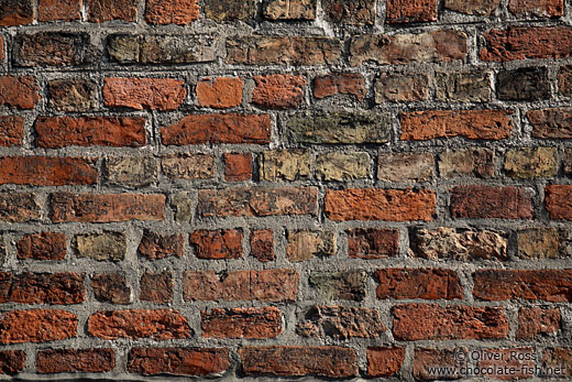 Weathered brick wall in Lübeck