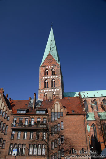 Tower of St. Mary´s church (Marienkirche) in Lübeck