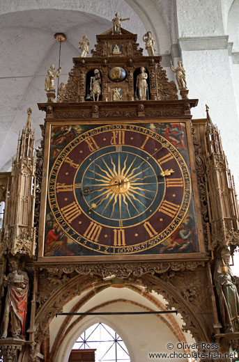 Clock inside St. Mary´s church (Marienkirche) in Lübeck