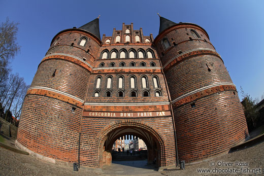 Lübeck`s famous Holstentor (city gate) through a fisheye lens