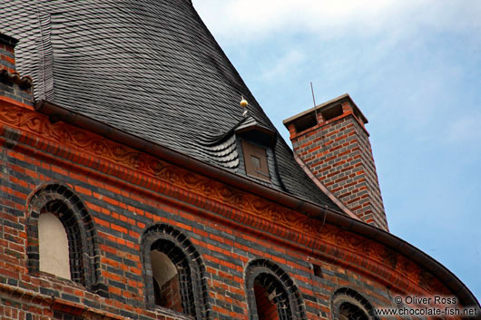 Roof detail of the Holstentor (city gate) in Lübeck