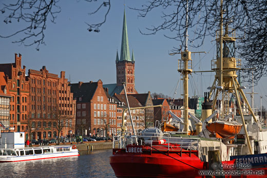 View of Lübeck from across the Trave river