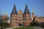 Travel photography:The famous Holstentor (city gate) in Lübeck, Germany