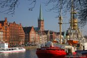 Travel photography:View of Lübeck from across the Trave river, Germany