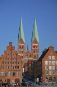 Travel photography:Houses along the Trave river in Lübeck, Germany