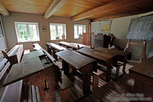 Old school house with 18th century classroom