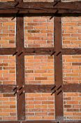Travel photography:Half-timbered brick facade of a typical 18th century Frisian house, Germany
