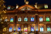 Travel photography:Gengenbach town hall decorated as an advent calendar, Germany