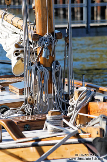 Close-up of the rigging of a sailing boat in Kiel harbour