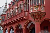 Travel photography:Facade of the historical warehouse on the cathedral square in Freiburg, Germany