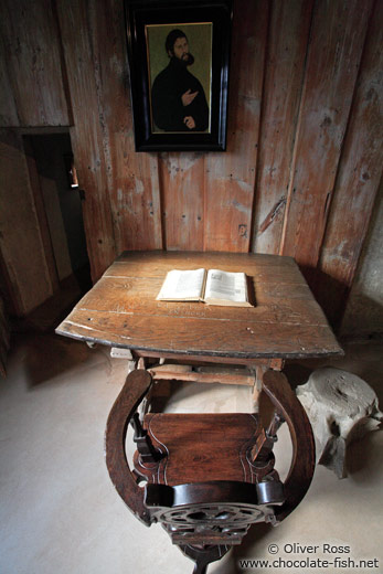 Martin Luther`s desk on the Wartburg Castle