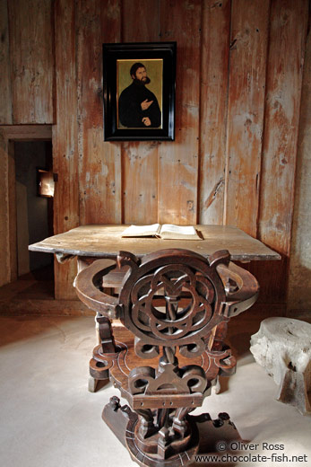 Martin Luther`s chair and table on the Wartburg Castle
