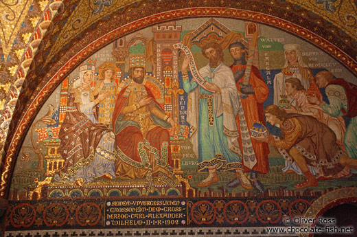 Wall mosaic in the Elisabethkemenate (Elisabeth`s chamber) on the Wartburg Castle